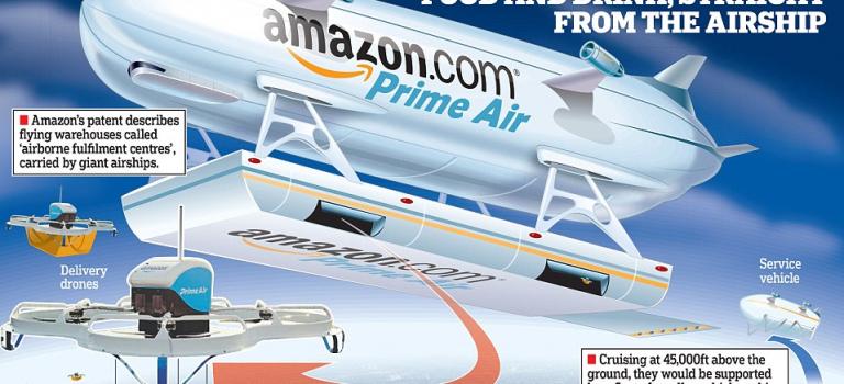亞馬遜野心大:新專利將用飛艇做倉庫懸浮在空中!