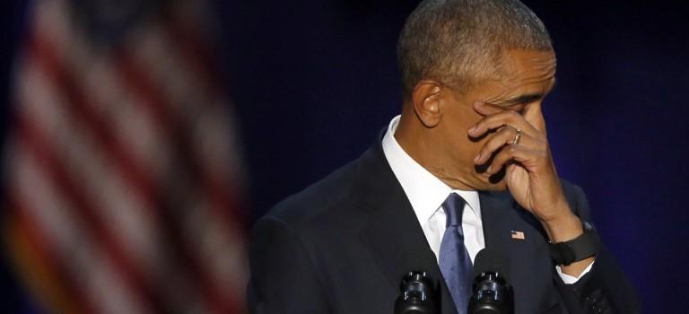 奧巴馬卸任前的最後演講:談及米歇爾深情落淚