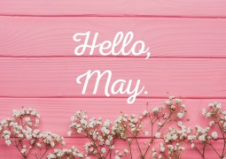 Hello-May-on-photo-with-pink-wooden-wall-and-flowers