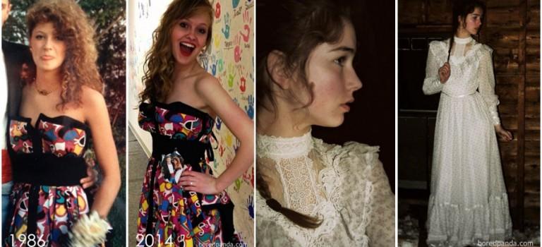 當女兒們穿上媽媽的禮服參加畢業舞會…..對比照片驚艷了流逝的時光!❤️