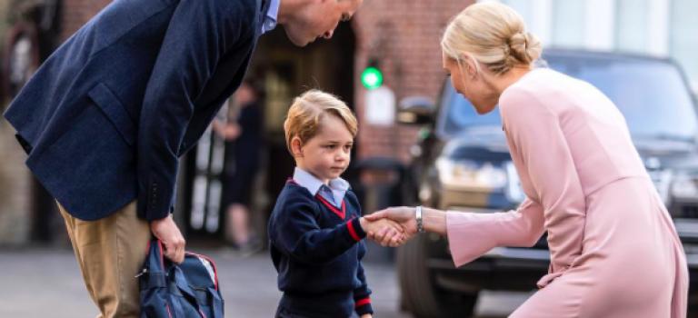 喬治王子上學囉!緊張握緊爸媽的手可愛模樣現臉上!