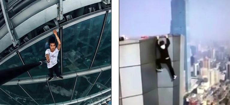 中國『蜘蛛人』在一次攀爬活生生從62樓掉下摔死!
