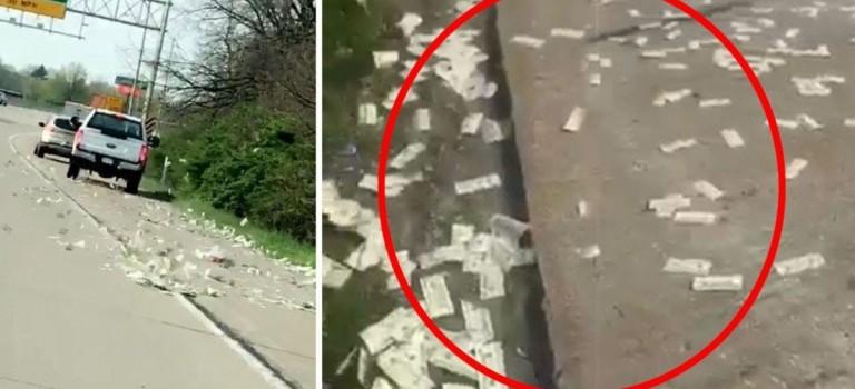 超夸张!美国运钞车防盗门故障狂撒60万美金,民众高速上停车疯抢