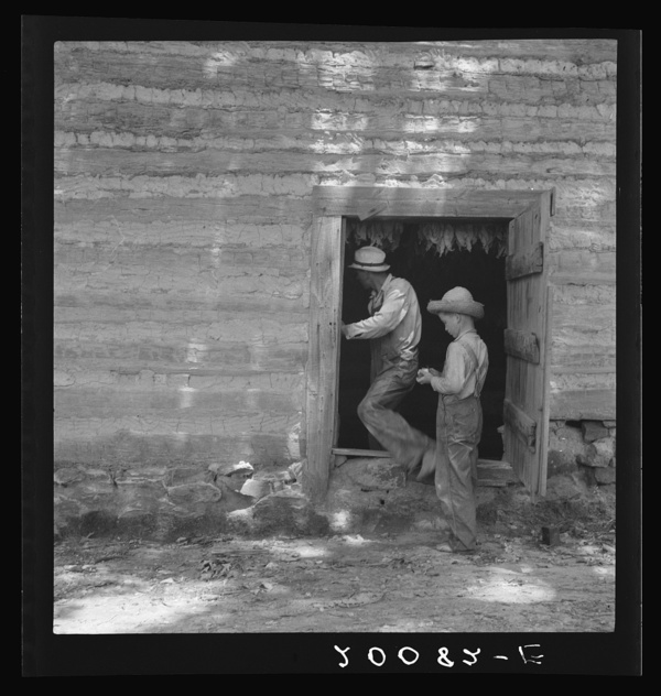 tobacco barn, old tobacco barn, father and son