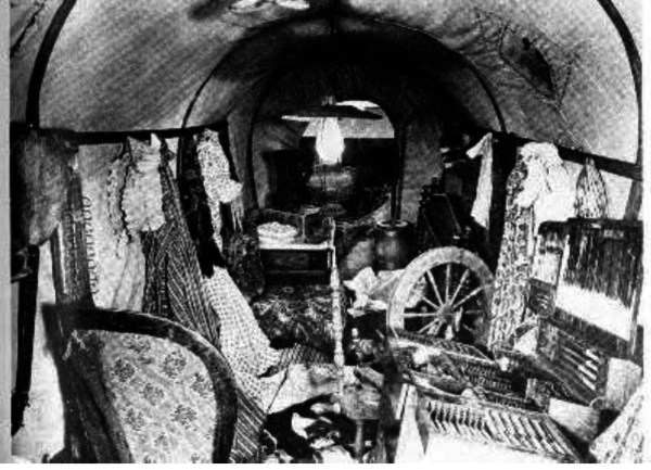 a rare view inside a covered wagon 5 photos old photo