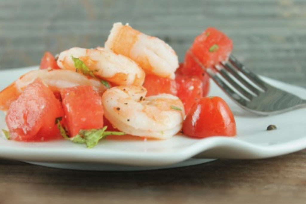 shrimp watermelon tomato salad