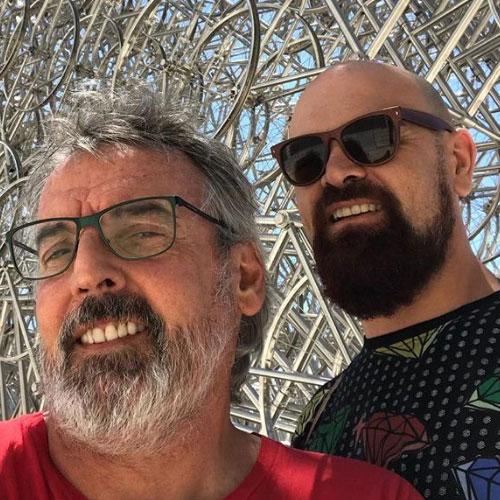 Benito Fernández y Zeus durante sus vacaciones en Nueva York.