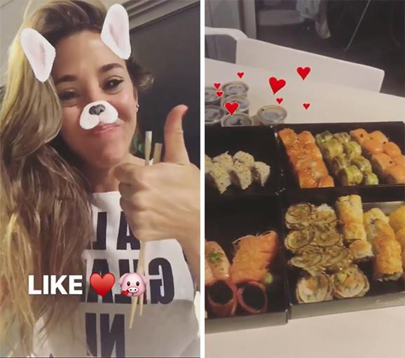 Ella lo mostró y lo probó al sushi...