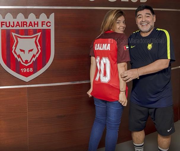 Dalma viajó a Dubai y con Diego se pusieron de acuerdo.