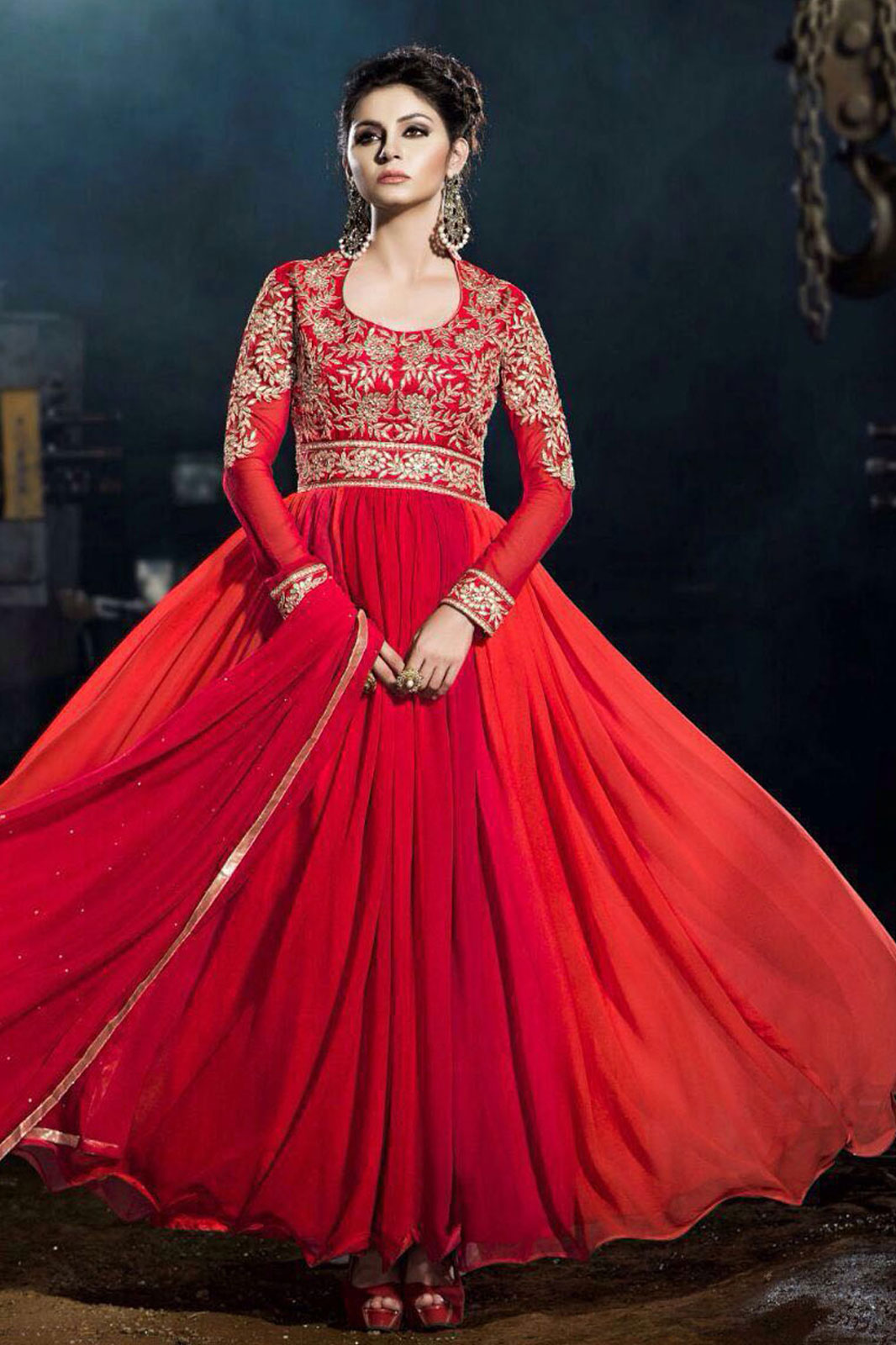 Red color kashab georgette designer gowns