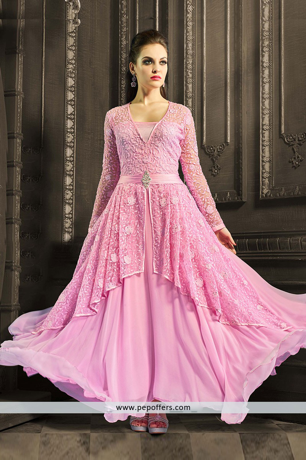 Pink reception wear anarkali suit with georgette material