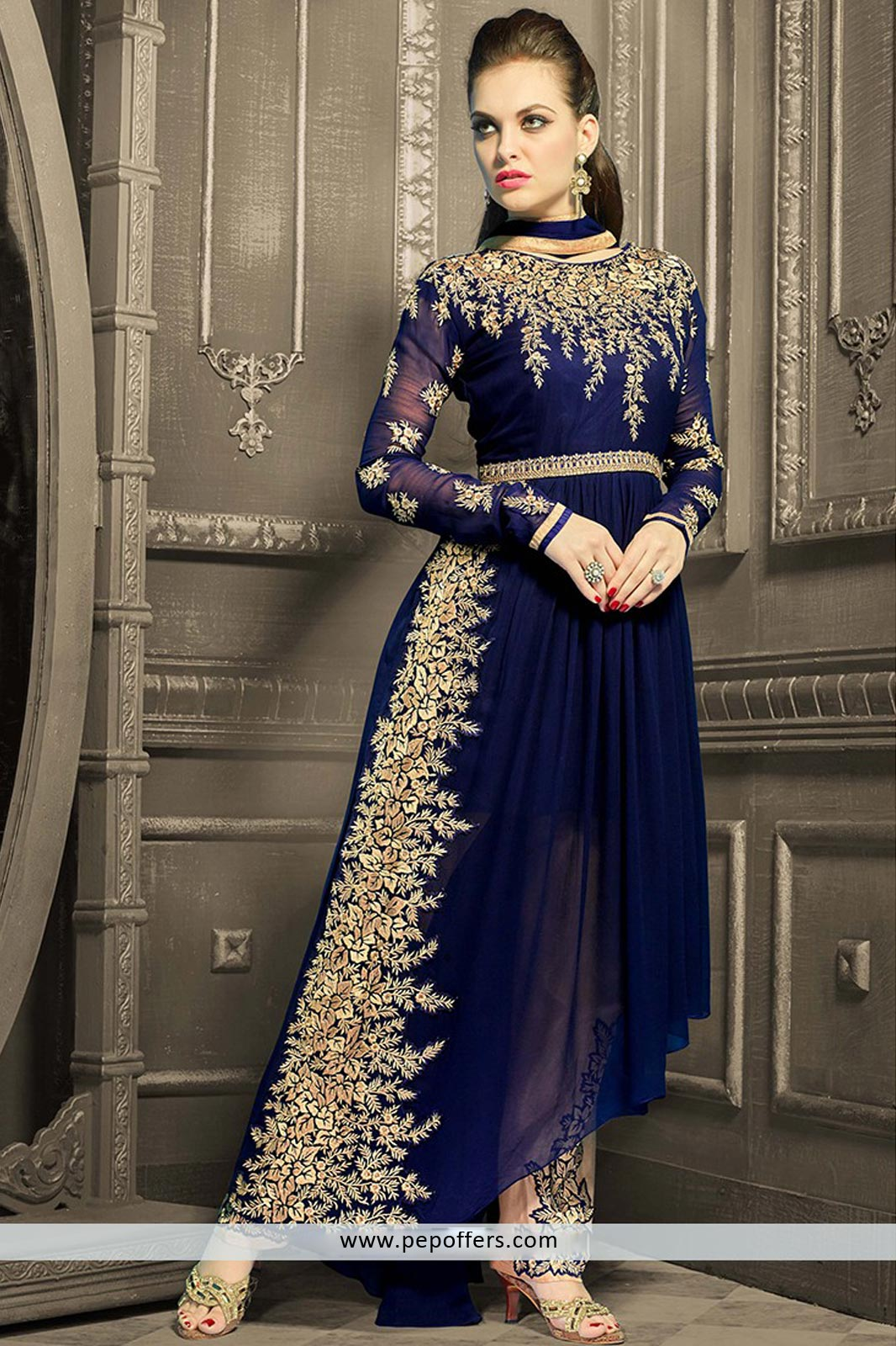 Royal blue diwali special suit for wedding wear