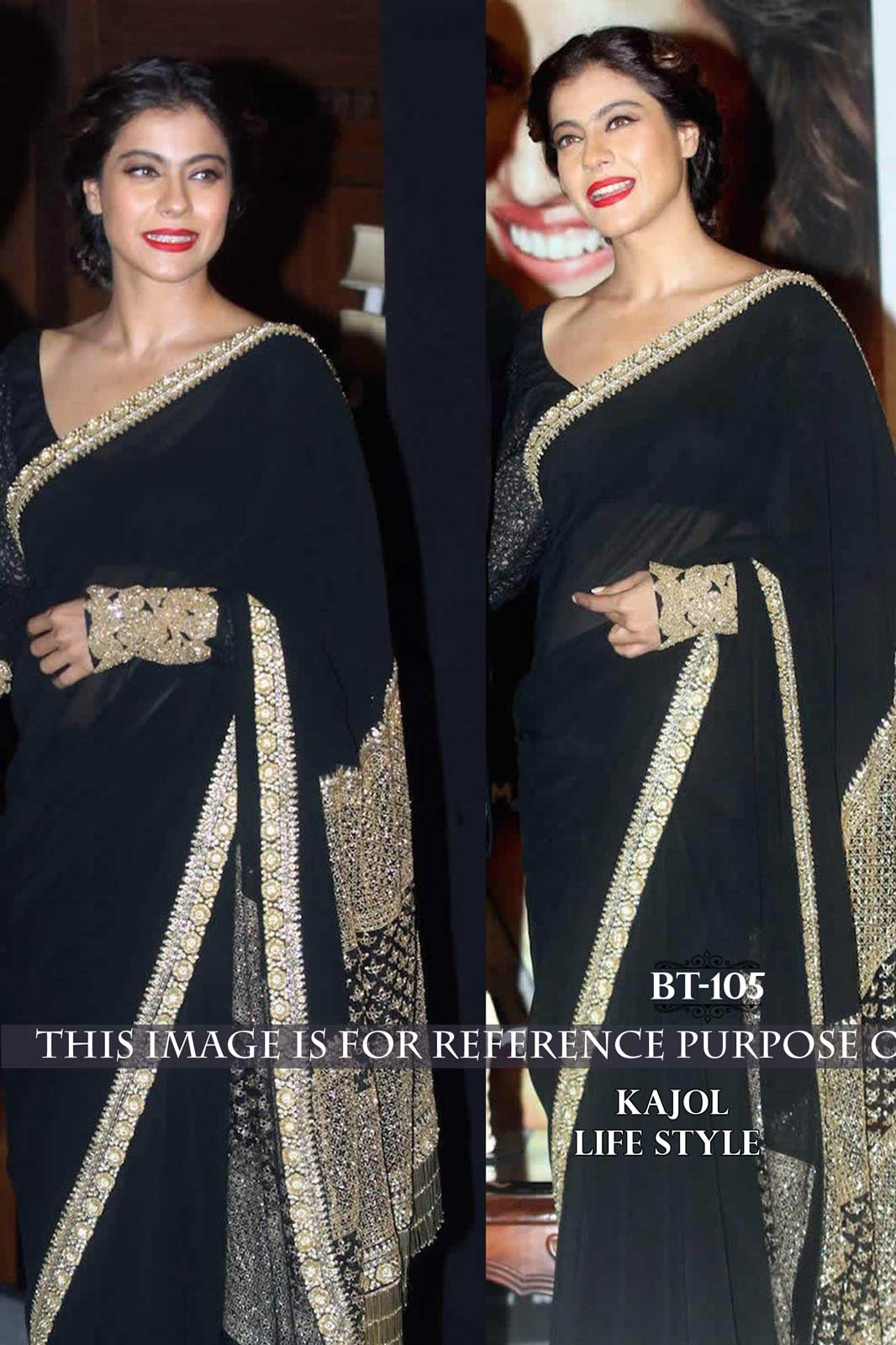 Kajol saree black