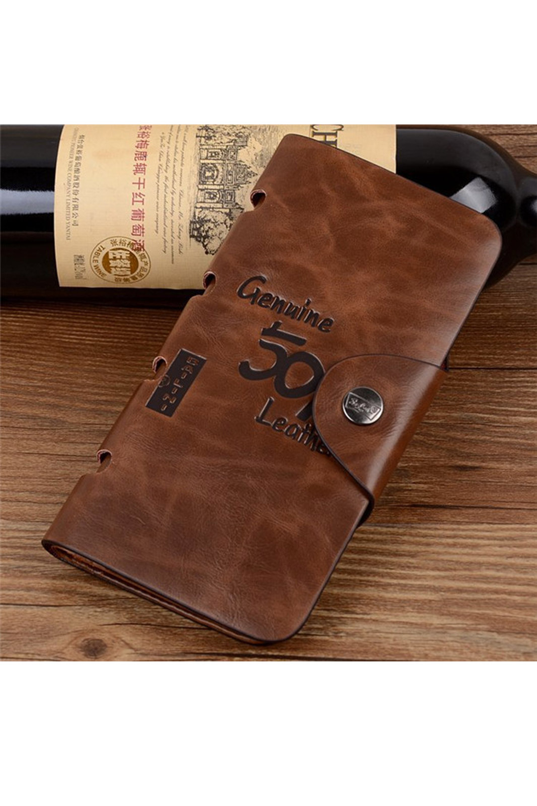 New fashion men long paragraph leather wallet vintage casual antique bifold wallets id card holder pocket purse bag gift
