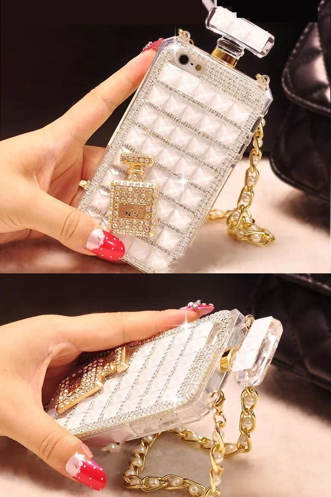 New luxury rhinestone perfume bottles phone case for iphone 6 iphone 6 plus case diamonds bling tpu soft phone cover with chain1