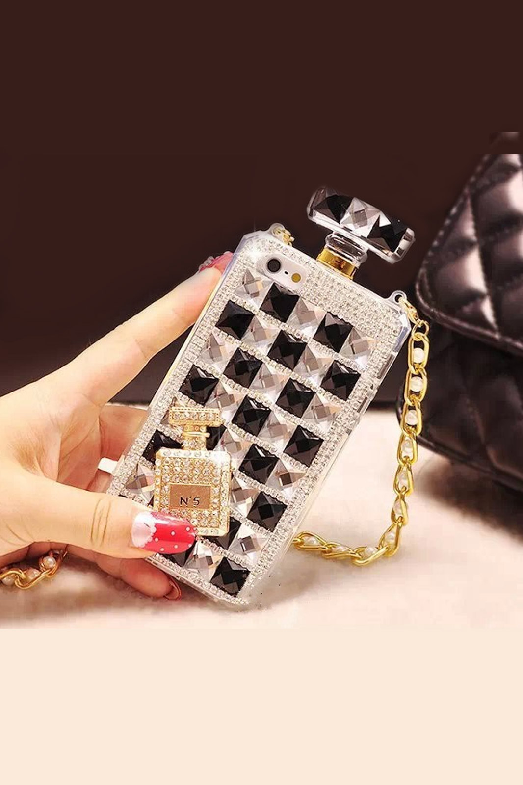 New luxury rhinestone perfume bottles phone case for iphone 6 iphone 6 plus case diamonds bling tpu soft phone cover with chain2