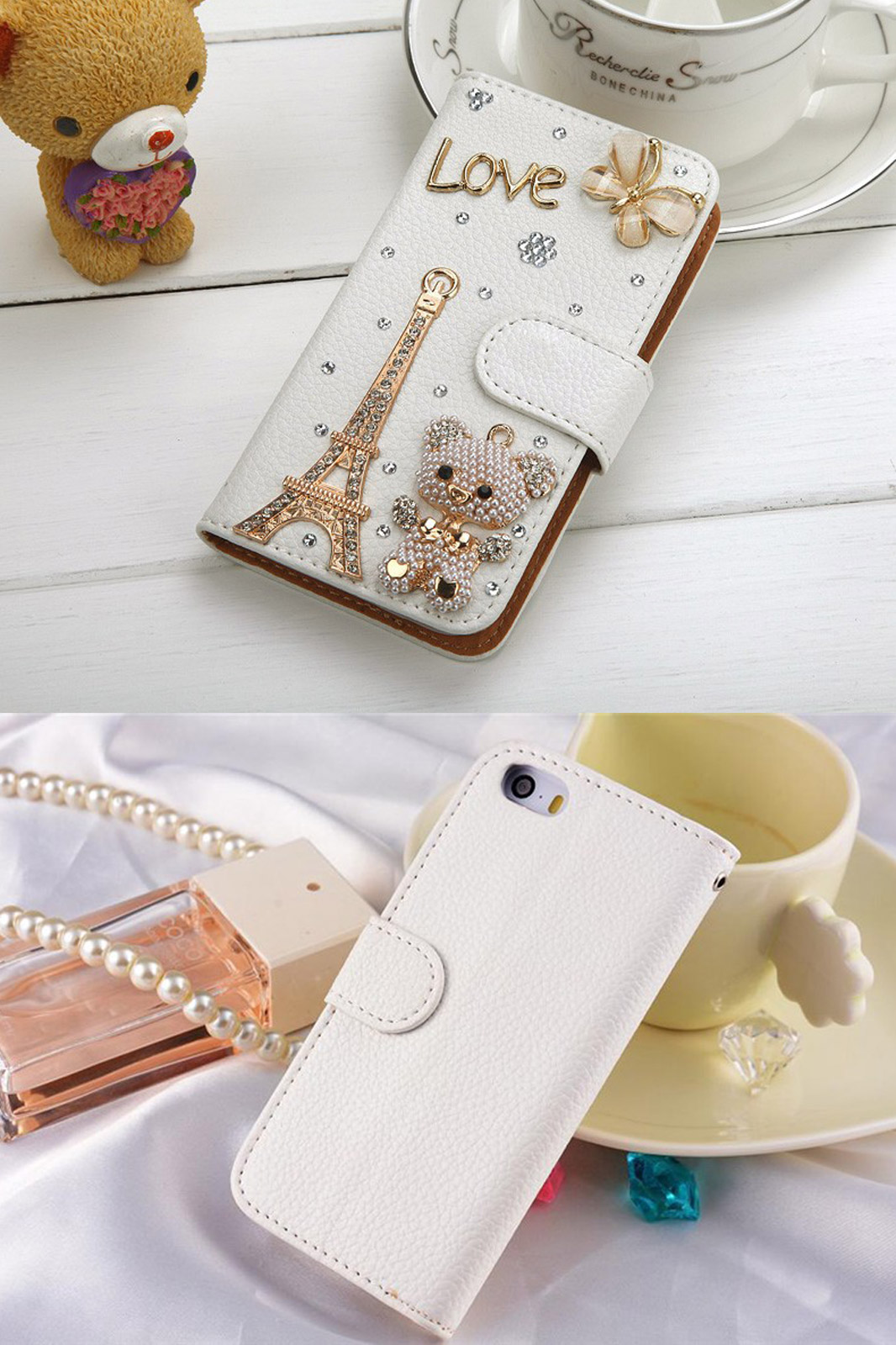 New arrival rhinestone pu leather cover case for apple iphone 6 diamond white skin stand wallet case