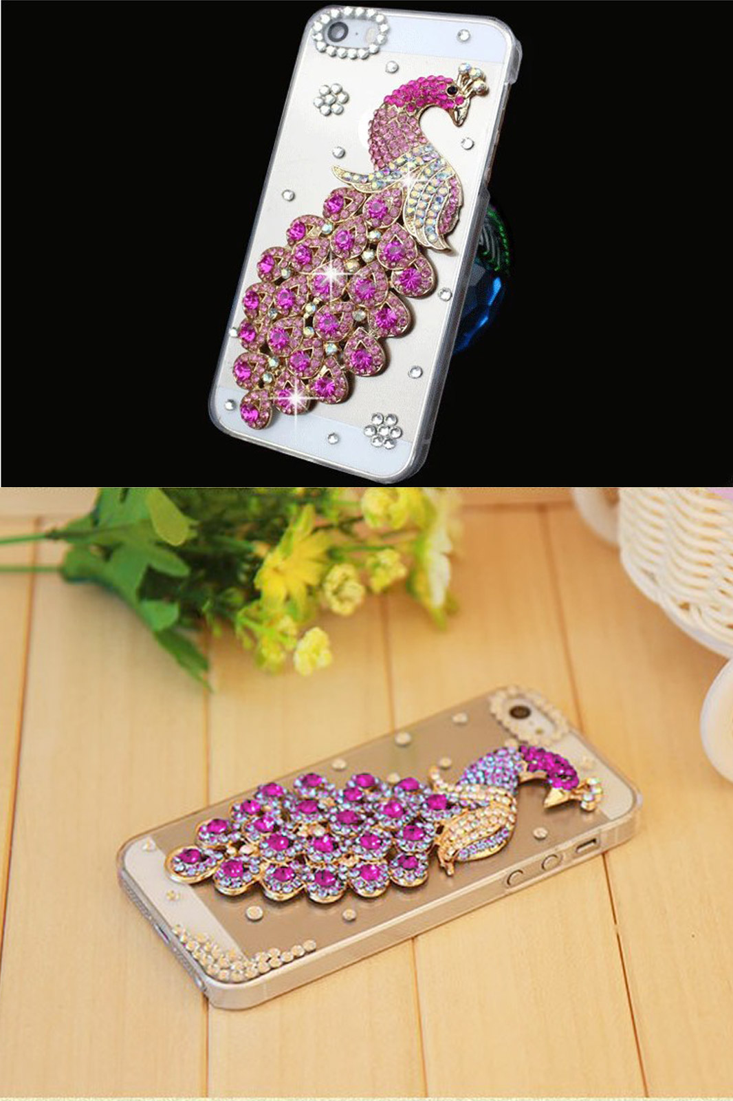 Hot luxury rhinestone phone case for apple iphone 6 iphone case diamond peacock hard mobile case