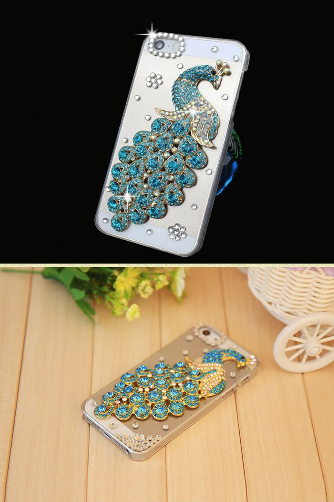 Hot luxury rhinestone phone case for apple iphone 6 iphone case diamond peacock hard mobile case1