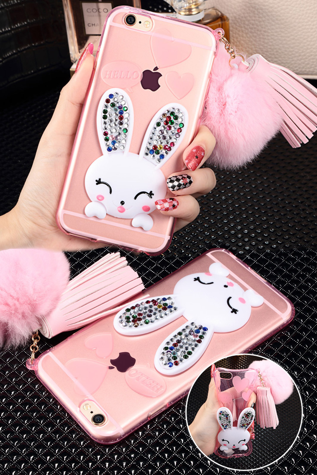 Tpu case for apple iphone 6 and 6s  luxury diamond cute rabbit silicone case
