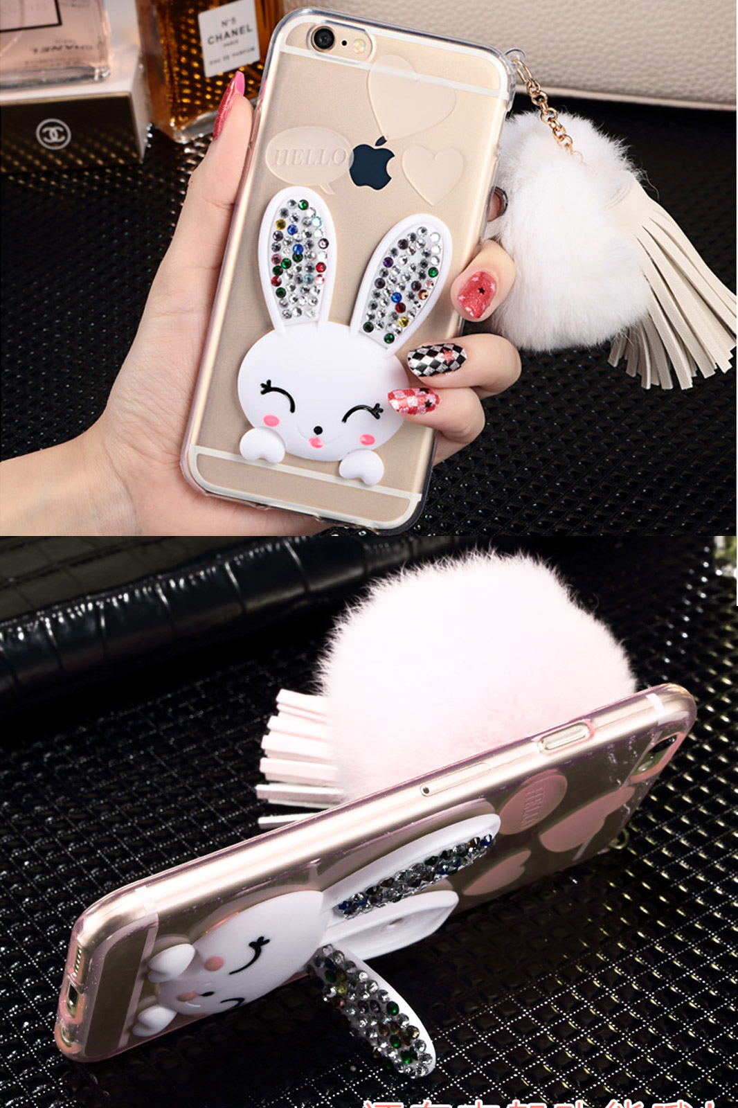 Tpu case for apple iphone 6 and 6s plus  luxury diamond cute rabbit silicone case