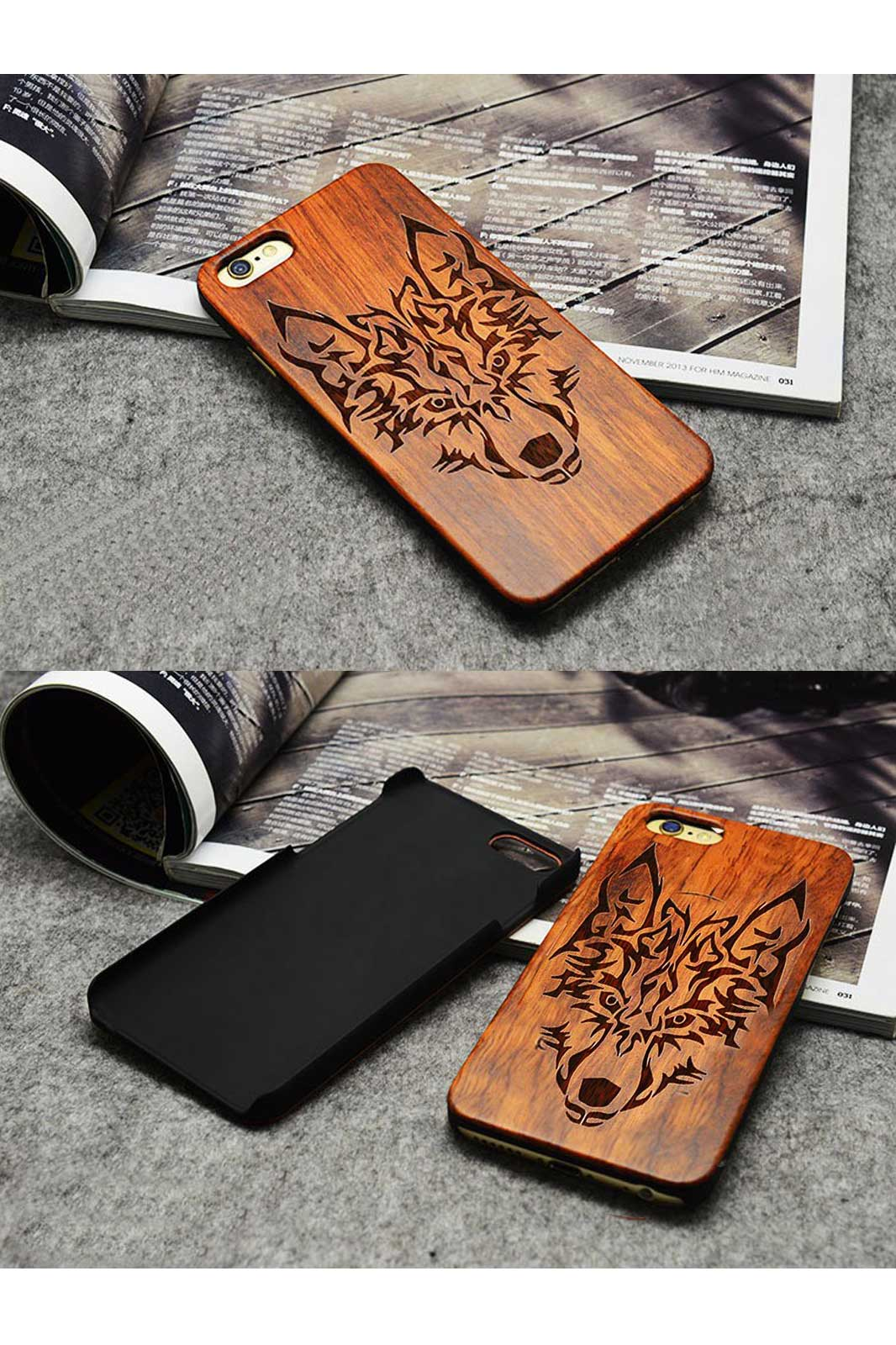 Luxury wooden wolf totem pattern mobile phone case for iphone