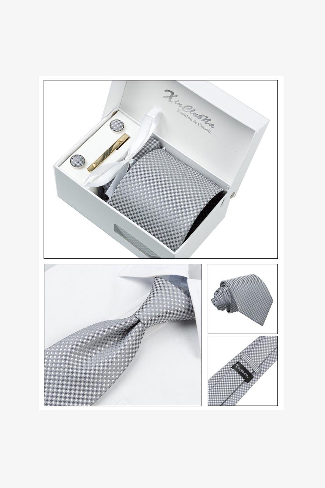 Mans ties silver gray checked gravata corbatas jacquard woven ties necktie set cufflink hanky business wedding holiday1