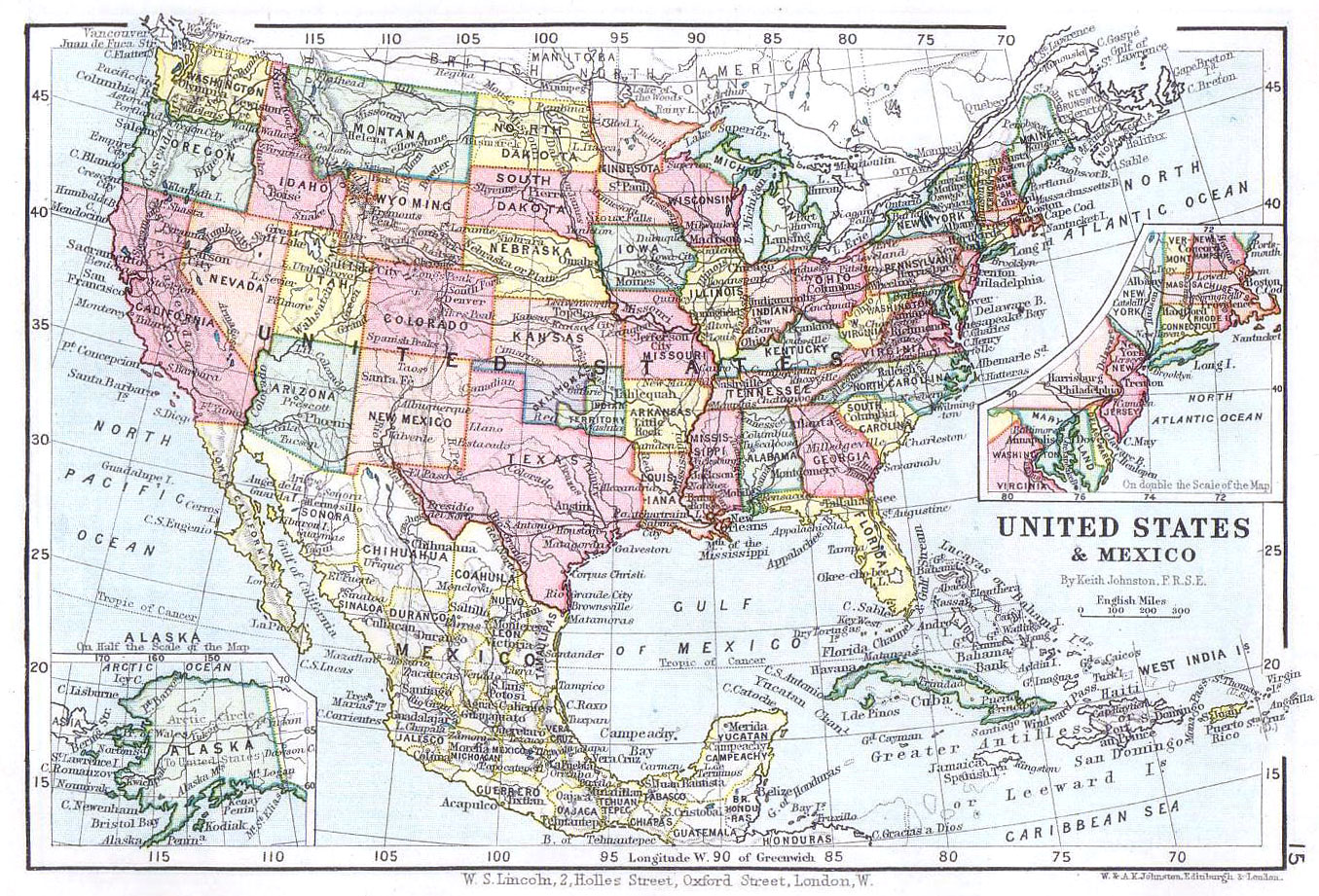 U.S.A & Mexico Map (Lincoln Stamp Album 1899) - Philatelic Database