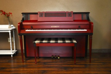 MY First Piano Phoenix Piano store selling refinished everett console piano red finish