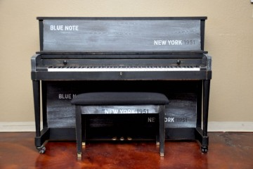 stencil piano, used piano, custom artistic piano, collector piano, New York, Blue noise
