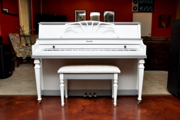 Grey and white piano, used piano, white piano, mesa piano