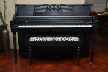 Kimball console painted piano refinished here at our piano store in phoenix