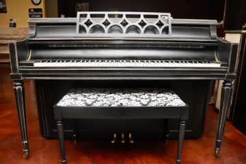 Chickering console acoustic upright piano ebony satin black used for sale rent rental gilbert mesa arizona phoenix my first gallery az