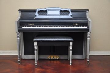 Wurlitzter console acoustic upright piano ebony satin gray grey black used for sale rent rental gilbert mesa arizona phoenix my first gallery az