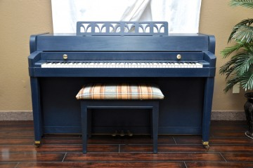 Baldwin spinet blue refinish acoustic upright piano used for sale rent rental gilbert www.myfirstpiano.net mesa arizona phoenix my first gallery az