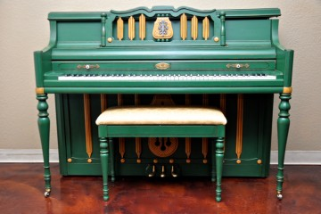 Wurlitzer refinished piano from our Mesa Piano Store in green paint