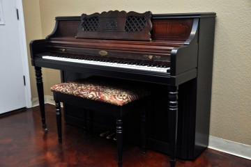 Wurlitzer refinished piano from our Mesa Piano Store in ebony satin