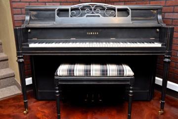 Yamaha Console Upright piano refinished in a tasteful ebony satin