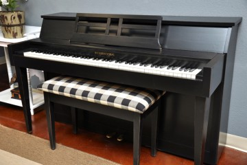International spinet acoustic upright piano ebony satin black used for sale rent rental gilbert mesa arizona phoenix my first gallery az