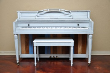Ivers & Pond Console Upright Piano refinished in a shabby chic or DIY style finish wood planks