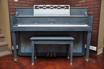 Kawai console piano splatter paint finish one of a kind DIY pianos