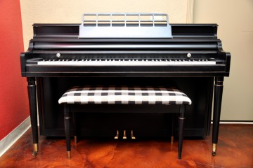 Kimball console acoustic upright piano ebony satin black used for sale rent rental gilbert mesa arizona phoenix my first gallery az