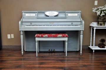 Kimball console hand crackled taupe typography studio acoustic upright piano used for sale rent rental gilbert mesa arizona phoenix my first gallery az