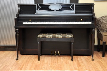 Shomocker console acoustic upright piano ebony satin black used for sale rent rental gilbert mesa arizona phoenix my first gallery az
