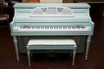 Kimball console custom refinish aqua acoustic upright piano used for sale rent rental gilbert mesa arizona phoenix my first gallery az
