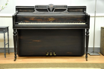 George Steck console acoustic upright piano ebony satin black used for sale rent rental gilbert mesa arizona phoenix my first gallery az