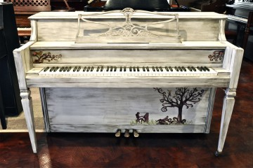 Everett console silver tree refinished DIY shabby chic acoustic upright piano used for sale rent rental gilbert mesa arizona phoenix my first gallery az