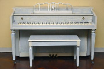 Stark Spinet blue beginner starter student acoustic upright piano used for sale rent rental gilbert mesa arizona phoenix my first gallery az