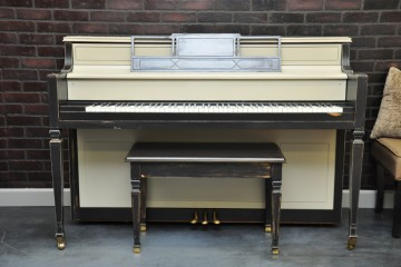 Story & Clark console acoustic upright piano ebony satin black used for sale rent rental gilbert mesa arizona phoenix my first gallery az