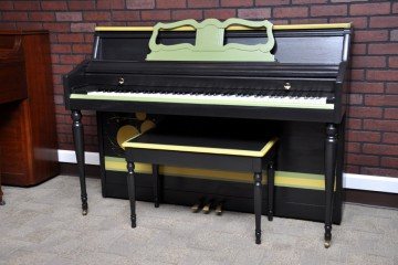 Wurlitzer console acoustic upright piano ebony satin black used for sale rent rental gilbert mesa chandler arizona phoenix my first gallery az piano